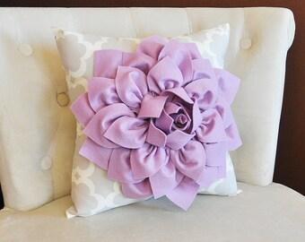 Lilac Dahlia Flower on Neutral Gray Tarika Pillow Accent Pillow Throw Pillow Toss Pillow 18 x 18