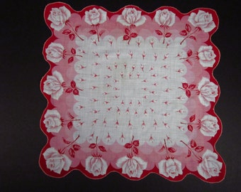 Vintage Handkerchief  w/Roses (vh100)
