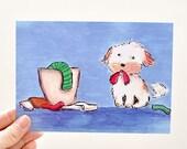 laundry dog - postcard