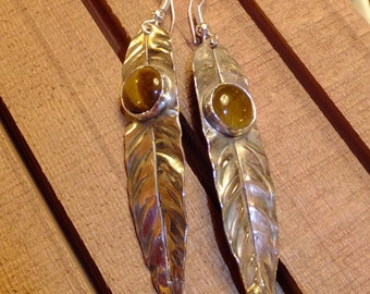 Extra Long Sterling  Leaf Earrings with Round Stone Cabochons -  Entirely Handmade, Forged, Silver Silversmithed