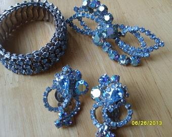 Vintage Rhinestone Parure, Blue Rhinestone Bracelet, Earrings and Brooch Set, Blue Accessories  (4 pieces)