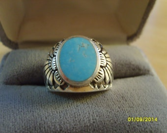 Ring, Sterling Silver Ring with Turquoise, Southwest Design Ring, Turquoise Ring