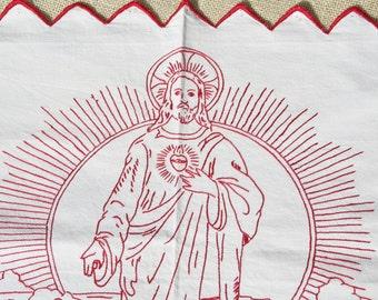 Antique Church Altar Cloth French Vintage Redwork Embroidered Jesus