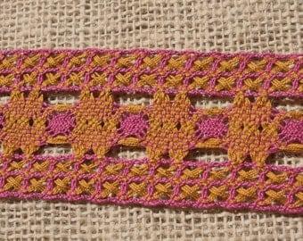Vintage Pink Gold Trim Woven Cotton Ribbon Trim
