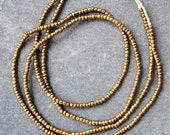 African Gold Glass Beads -2 Strands