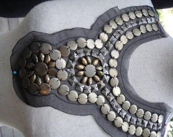 Neckline Applique Embellishment Necklace Brass Color Beads Metallic Beads on Black Tulle 108