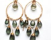 Great Water Hoops - Moss Aquamarine, Green Amethyst, Handmade 14K Gold Filled Earrings - Long Green Gemstone Chandelier Earrings