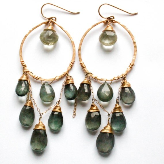 Great Water Hoops - Moss Aquamarine, Green Amethyst, Handmade 14K Gold Filled Earrings - Long Green Gemstone Chandelier Earrings