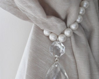SET OF 2 decorative curtain tiebacks faux pearls, vintage crystals- drapery holder - tie backs curtain, vintage drops