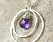 Amethyst necklace, infinity necklace, amethyst jewelry, silver circle necklace, February birthday gift - Celeste