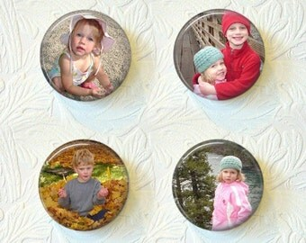 "Personalized Magnet Set, Personalized With Your Own Picture or Sayings,  Set Of 4 Magnets, 1.5"" in Size  Buy 3 Sets Get 1 Set Free  001PM"