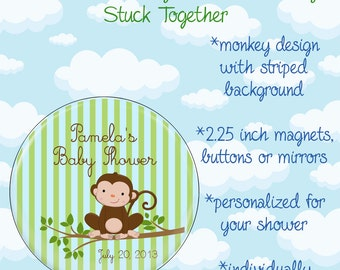 Monkey Baby Shower Favors - 2.25 Inch Magnets, Buttons or Mirrors - Set of 10 Favors