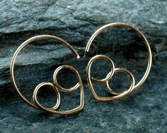 ALIEN EARRINGS. ET hoops. gold filled. space man. extraterrestrial jewelry. star trek. comic con  No.00E4