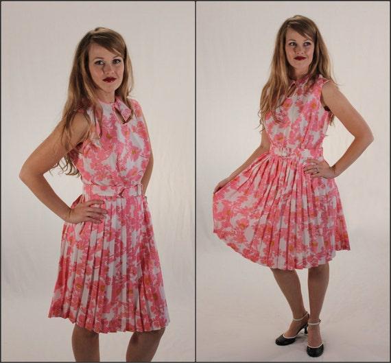 Vintage 1960's Floral Dress / Pleated Skirt / M L