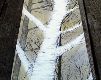 White Birch on Table Runner