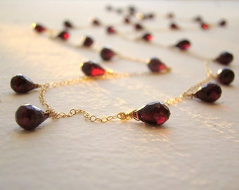 Garnet Necklace, gold fill, sterling silver, rose gold fill. 20 to 46 inches Long