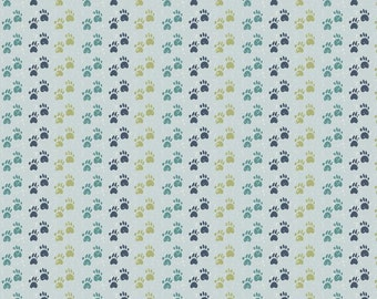Doglandia from Blend Fabrics -- Dog Paws in Stripes of Blue and Green Designed by Peter Horjus