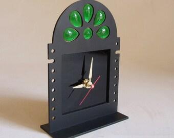 desk clock  - laser cut steel - black finish - jewels insert