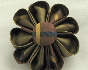 Chocolate and Olive with Gold and Blue Stripes Silk Kanzashi Flower Pin - Boutonniere