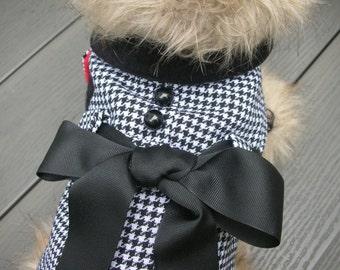 Small Dog Houndstooth Dress Coat for Dogs, Dog Jacket, Dog Coat, Dog Jackets