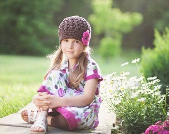 Brown Crochet Hat for Girls, Toddler Hat, Crochet Kids Hats, Hats for Toddlers, Beanie Hat, Cotton, Brown, Pink, 12 Months - 4T