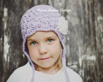 Violet Toddler Girl Earflap Hat, Crochet Toddler Hat, Crochet hat for Kids, Earflap Hat, Cotton, 12 Months to 4T