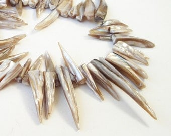 """Shell Stick Beads - Cream Beige Mother of Pearl Spike - Top Drilled Point Beads - Natural Shell Stick - 16"""" Strand - DIY Jewelry Project"""