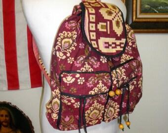 Bohemian Floral Deco Canvas Backpack Shoulder Bag - Mint Condition / Size Medium-Large