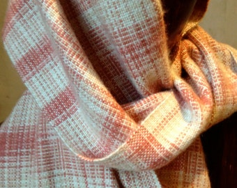 Hand Woven Cashmere Silk Scarf, Terra Cotta Ikat with Cream & White