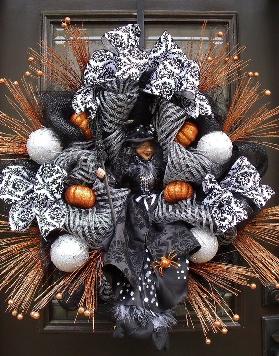 Elegant Halloween Wreaths Witch Wreath Door Decor Fall Door