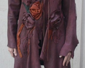 showdiva Designs Dramatic Asymmetrical Leather Coat with Hand Sculpted Garden Flowers and Vines
