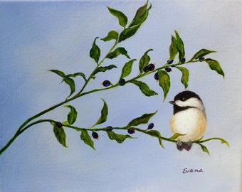 "CHICKADEE Painting on Blue berry branch.  8"" x 10"" bird painting"