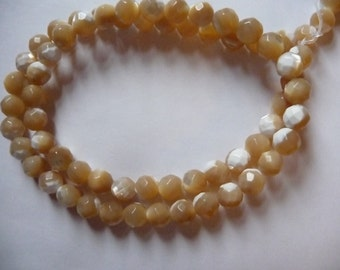 SALE!! Bead, Mother Of Pearl, Shell (Natural), 6mm, Faceted, Round, Mohs Hardness 3, Pkg Of 10 ...