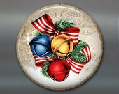 "3.5"" vintage christmas fridge magnet, vintage bells magnet, bells and bows magnet christmas decoration, kitchen decor, large magnet MA-1345"