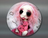 gothic doll fridge magnet, large magnet, kitchen decor, gift for doll collector, gothic decor, housewarming gift art magnet MA-AD69