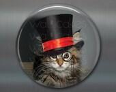 steampunk cat magnet, cat decor, steam punk decor, cat fridge magnet kitchen decor, large fridge magnet, housewarming gift  MA-1020