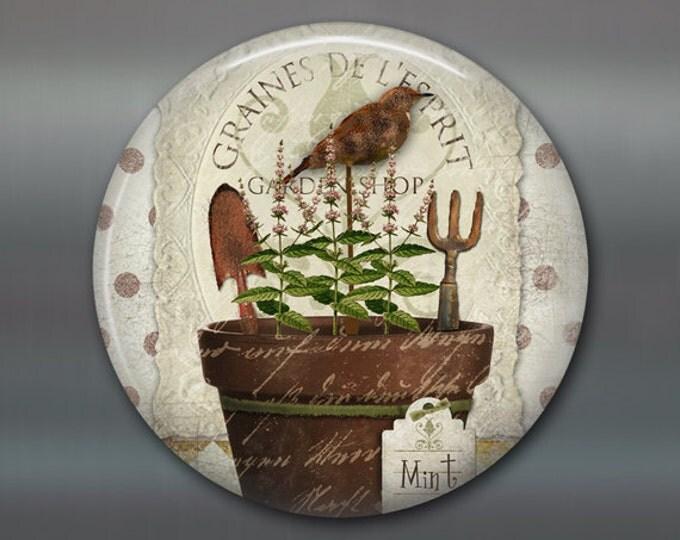 "3.5"" mint fridge magnet, hand painted herbs art magnet, country kitchen decor, gift for gardener, large fridge magnet, rustic decor MA-1624"