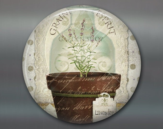 """3.5"""" Refrigerator Magnets, lavender magnet, hand painted herbs art magnet, country kitchen decor, gift for gardener, rustic decor MA-1625"""