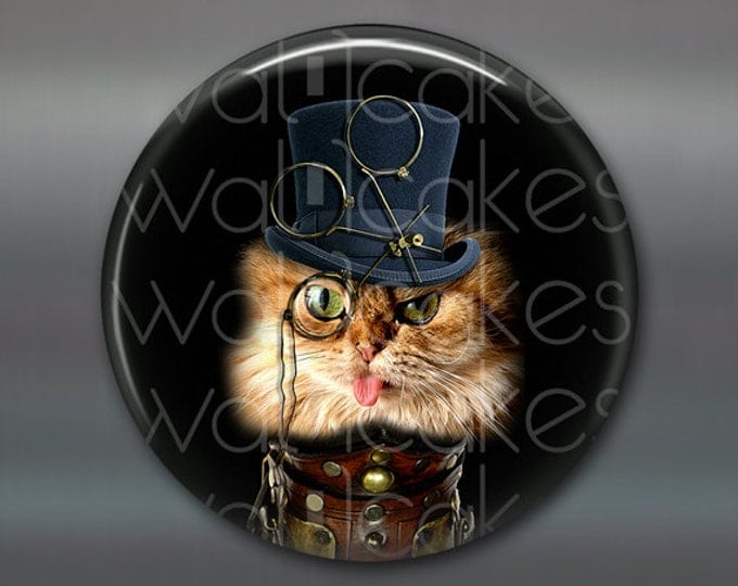"3.5"" steampunk cat magnet, cat decor, steam punk decor, cat fridge magnet kitchen decor, large fridge magnet, housewarming gift  MA-1018"