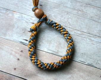 Steelgray Gold  Round Hemp Bracelet