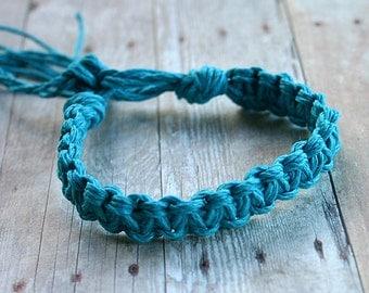 Surfer Macrame Hemp Bracelet Turquoise Woven Knot Friendship Bracelets