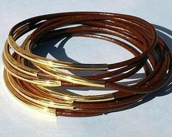 10pcs Leather Bangles Bracelets Brown Leather And Gold Or Silver Metal Tubes