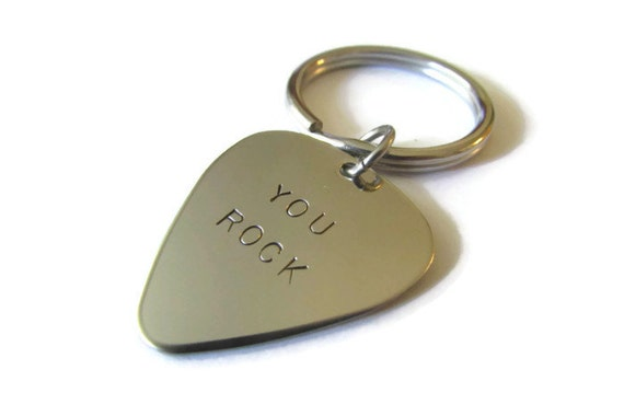 Handstamped Guitar Pick Keychain - you rock - HANDMADE by the KIDS