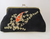 Black Koi Fish Clutch Purse-Purse-Handbag-Kisslock-8 inch-Koi