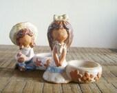 Pair of Vintage Pottery Little Girls Figural Salt Bowls
