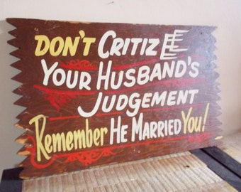 Vintage Wooden Sign Marriage Husband and Wife Cabin Kitsch