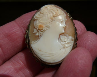 Vintage Shell Carved Cameo Brooch Pendant Combination bc2