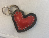 little black & red patchwork heart charm