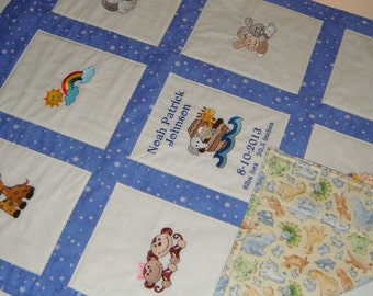 Embroidered Noah's Ark Baby Quilt -  Personalized with Name - Add your own quote - Giraffes, Elephants, Hippos, Lions, Bunnies, Monkeys,more