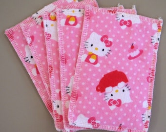 Kids Reusable Swipers - Hello Kitty With Pink Dimple Minky Hanky (set of 5)
